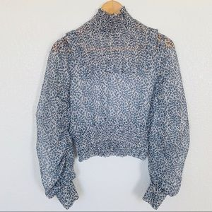 H&M Blue Floral Smocked Cropped Blouse Sz XS